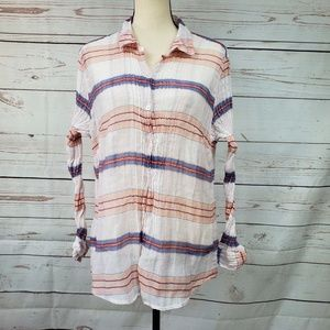 Tommy Bahama silk blend striped button down shirt